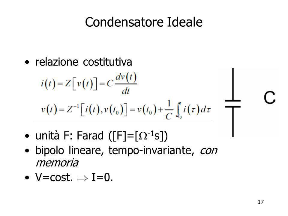 Condensatore Ideale relazione costitutiva unità F: Farad ([F]=[-1s])